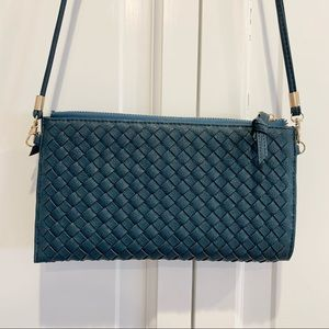 Urban Expressions Woven Teal Crossbody/Clutch